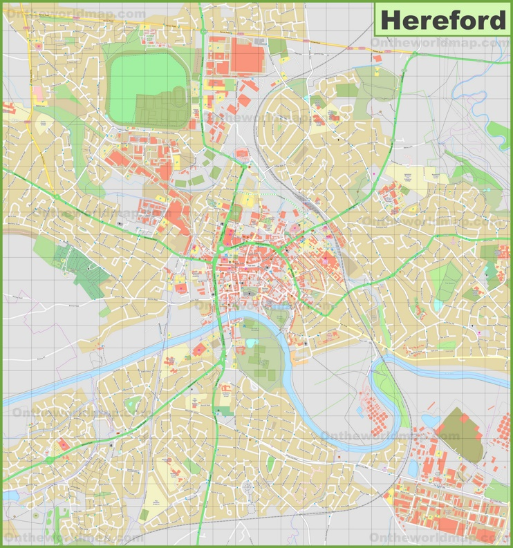 Detailed map of Hereford