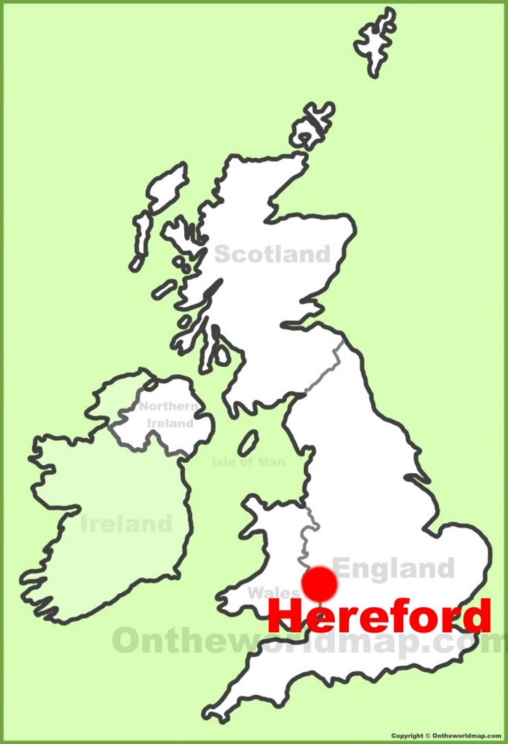 Hereford location on the UK Map