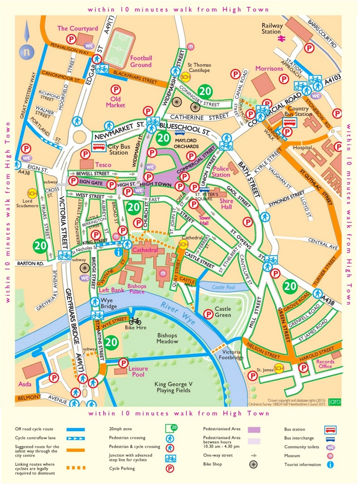 Hereford tourist map