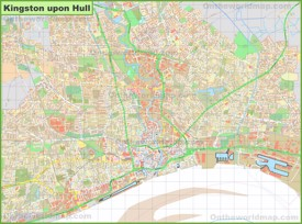 Detailed map of Hull