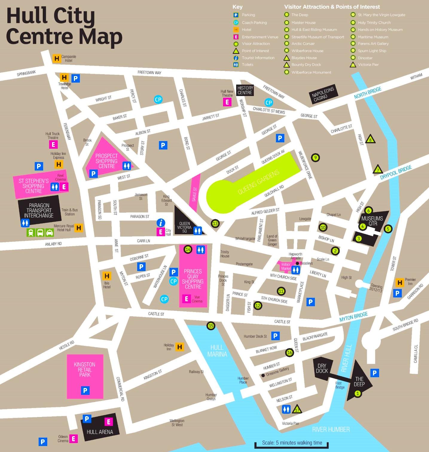 Hull sightseeing map