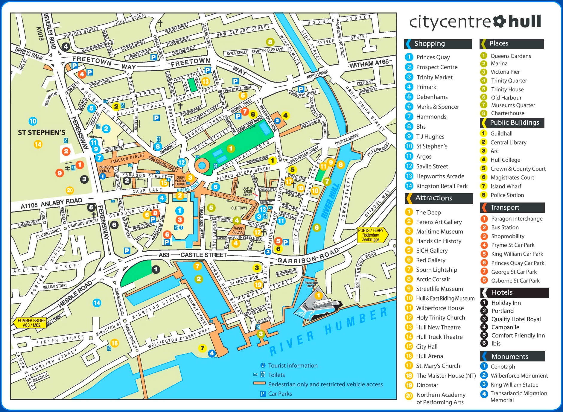 Map Of Uk Hull.Hull Tourist Attractions Map
