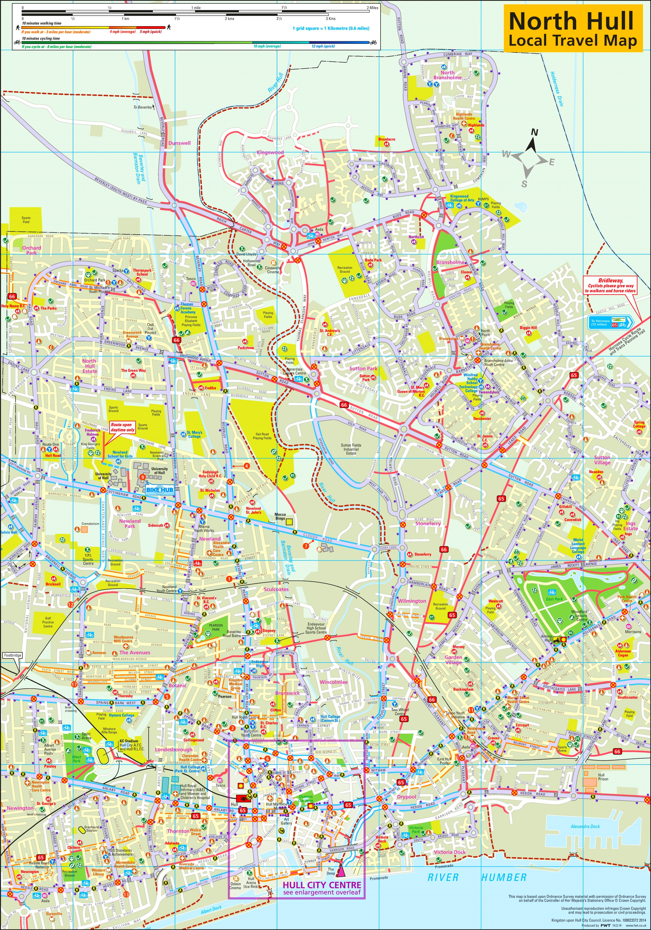 North Hull travel map