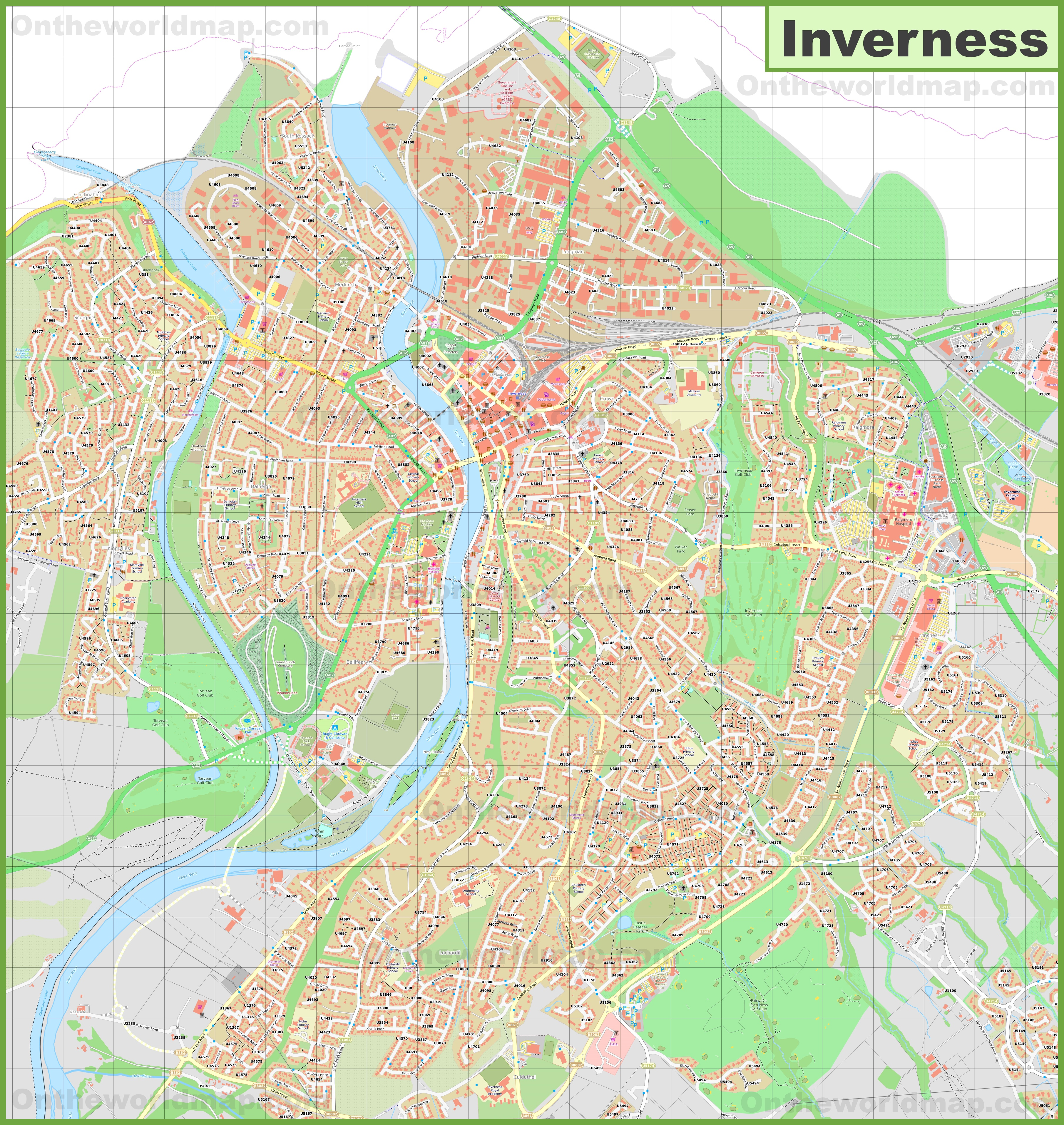 Detailed map of Inverness