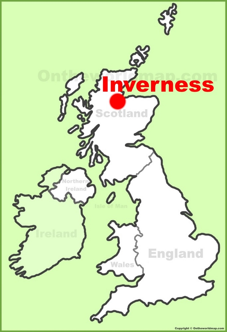 Inverness location on the UK Map