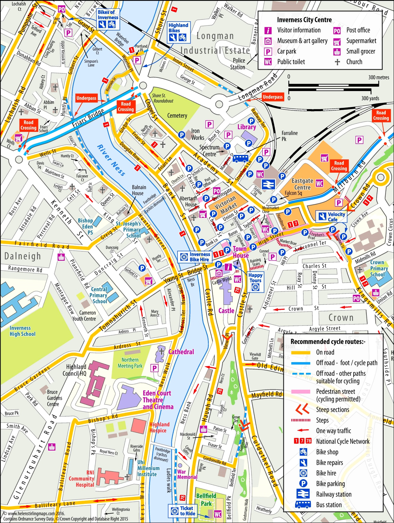 Inverness tourist map