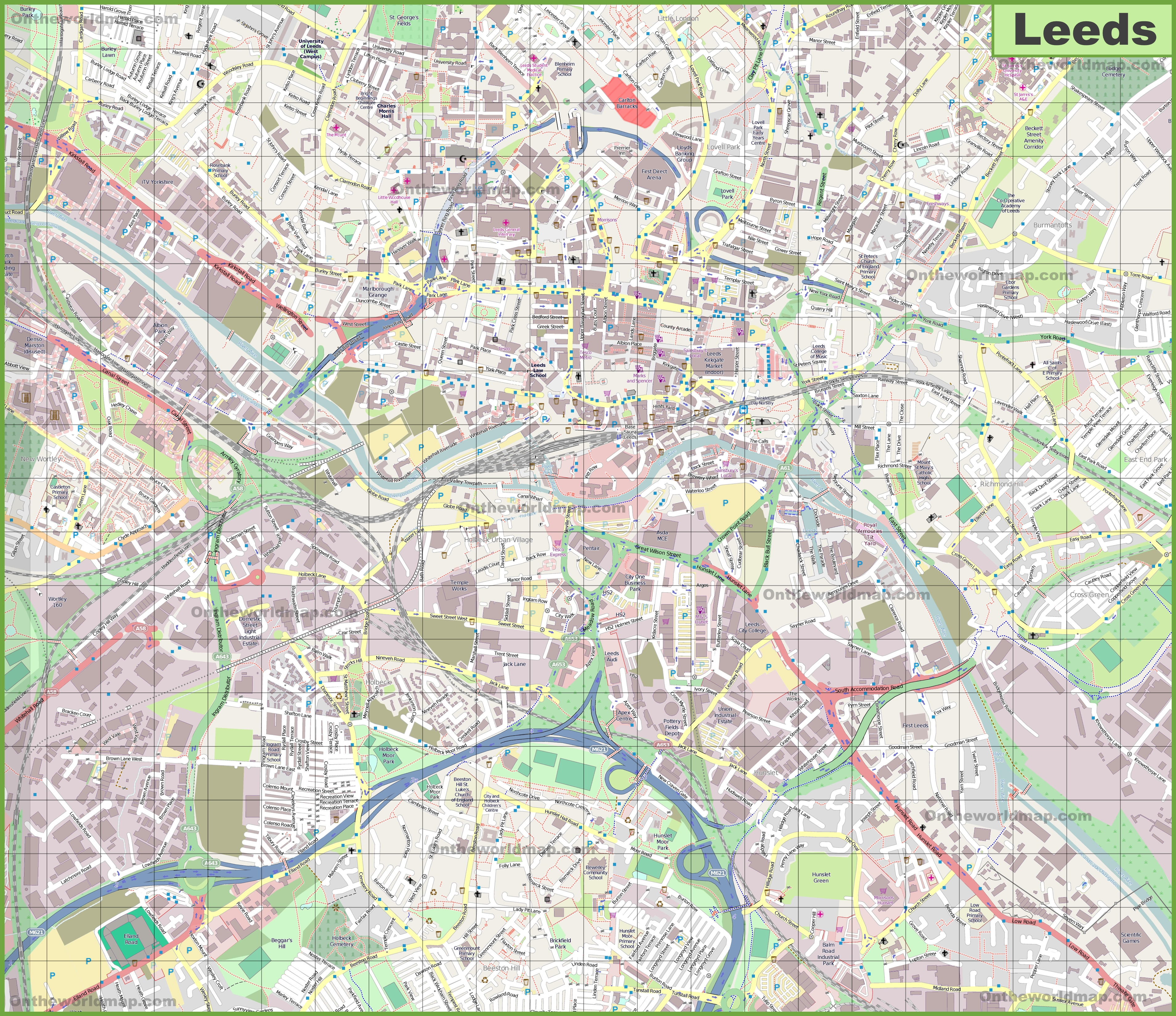 Large detailed map of Leeds