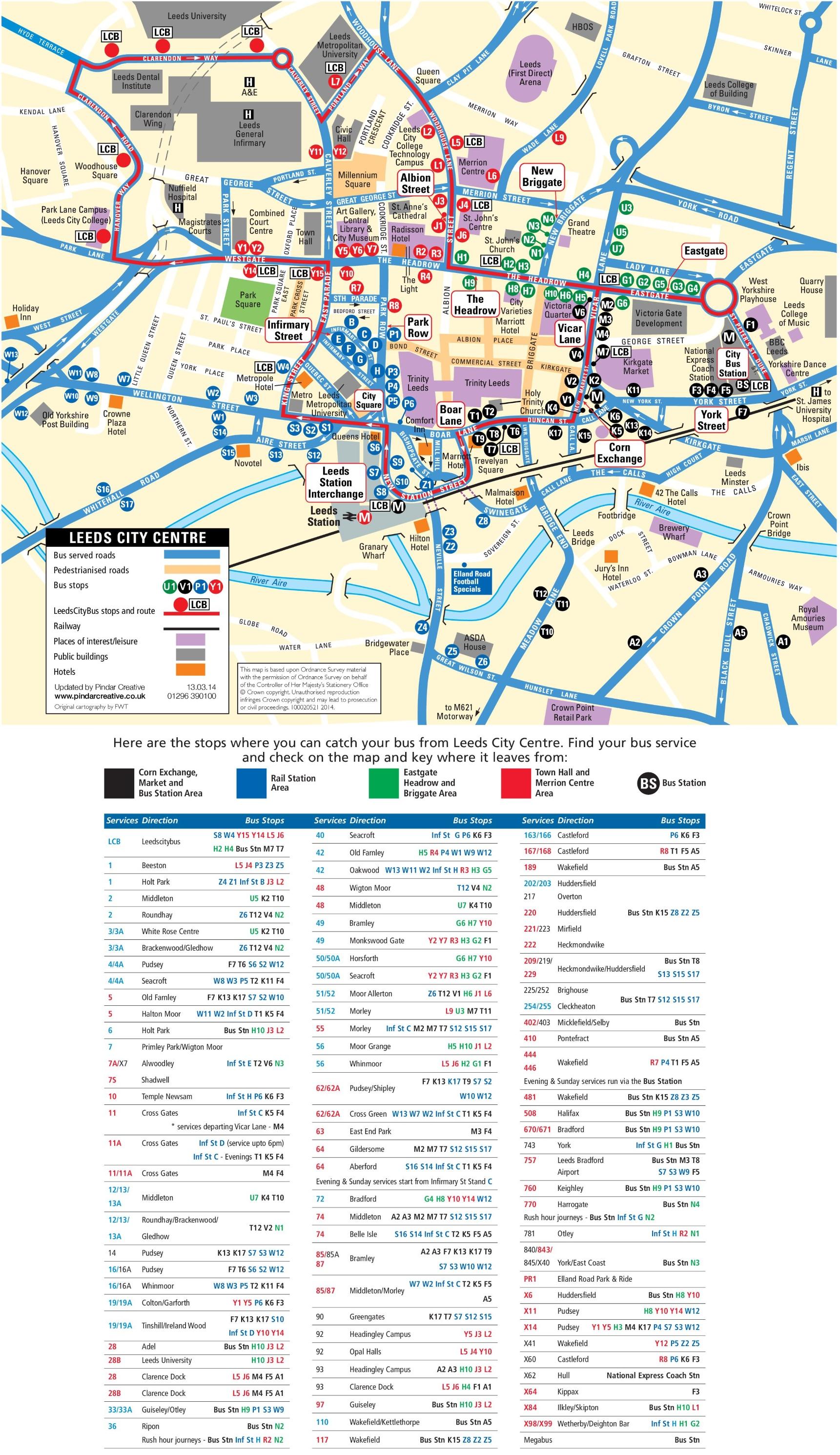 Leeds City Map Leeds city center map