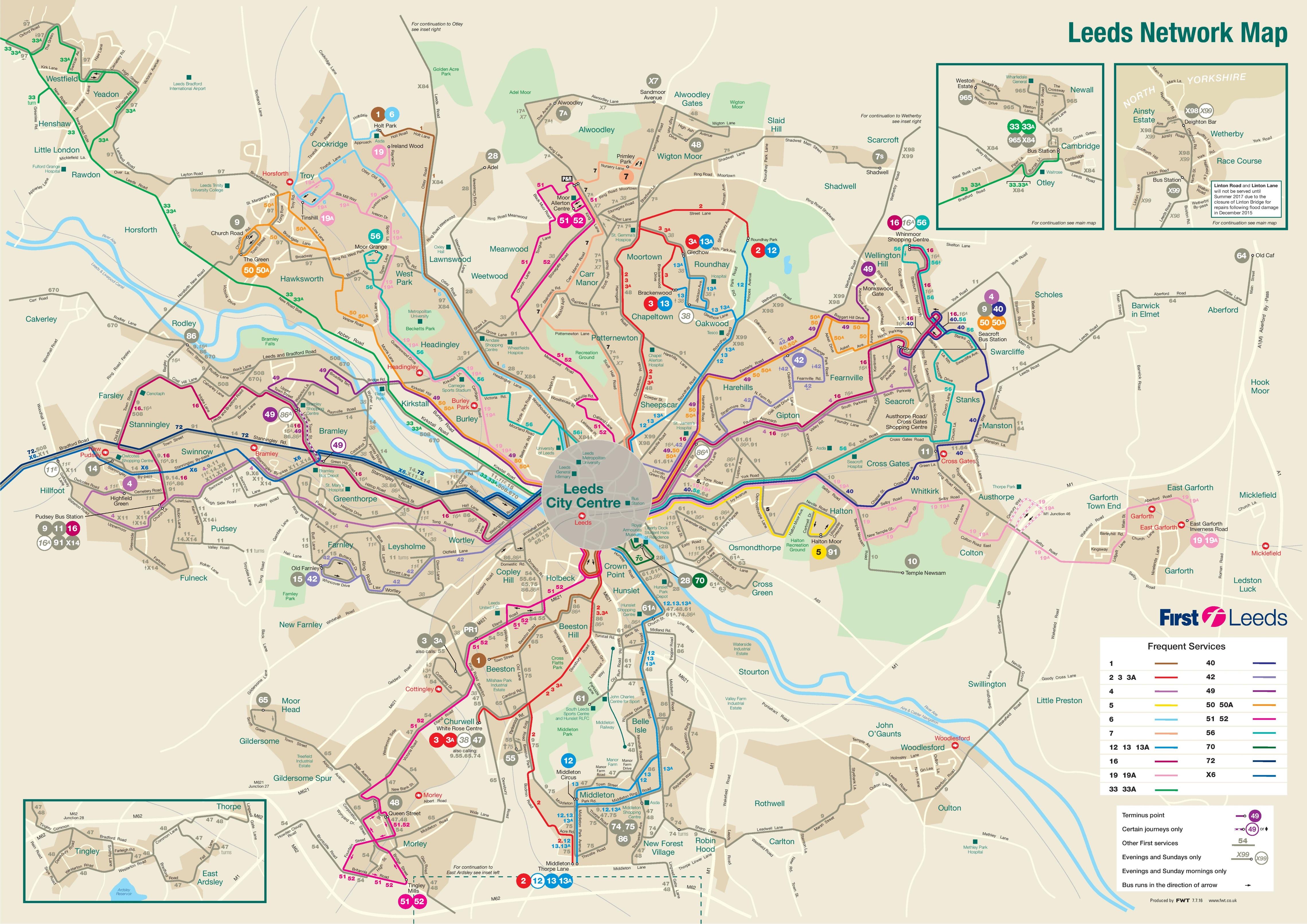 Leeds transport map