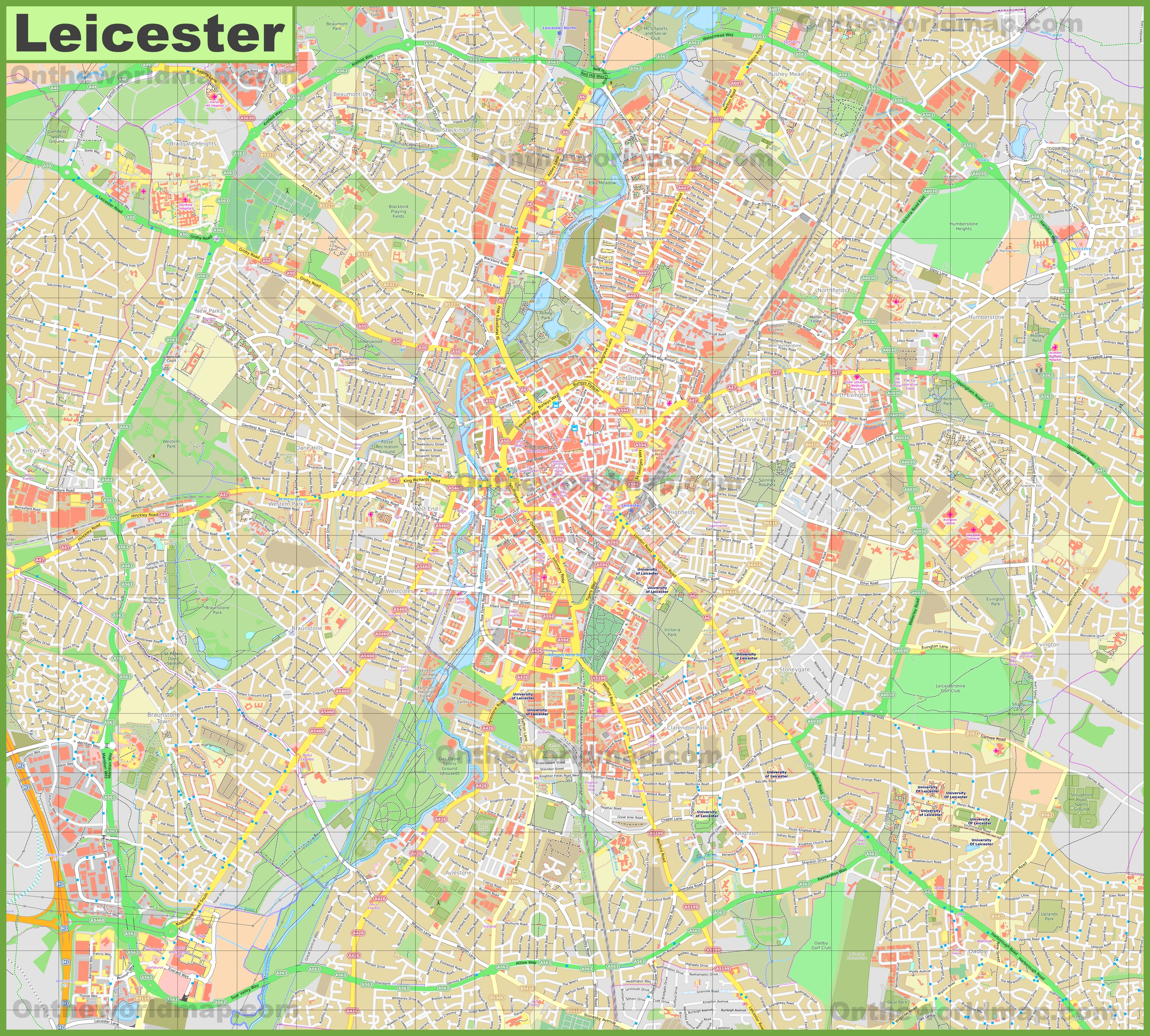 Detailed map of Leicester