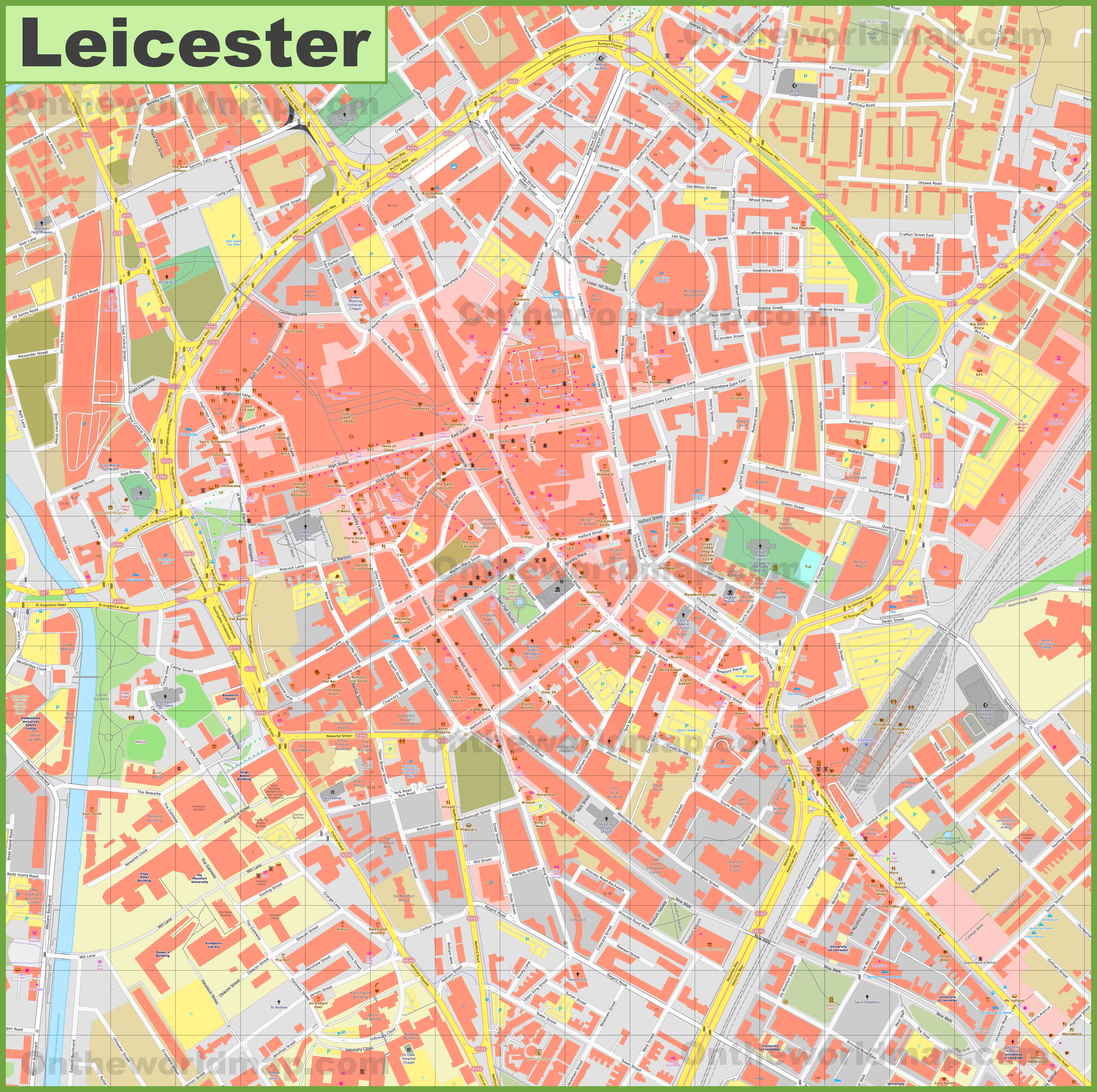 Leicester City Uk Map.Leicester City Center Map
