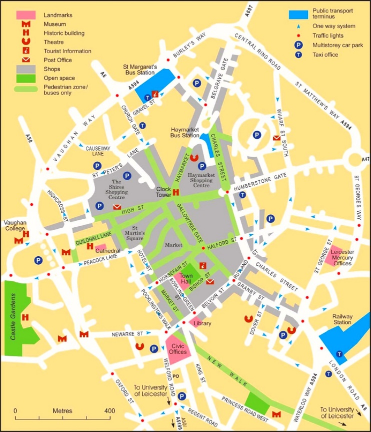 Leicester sightseeing map