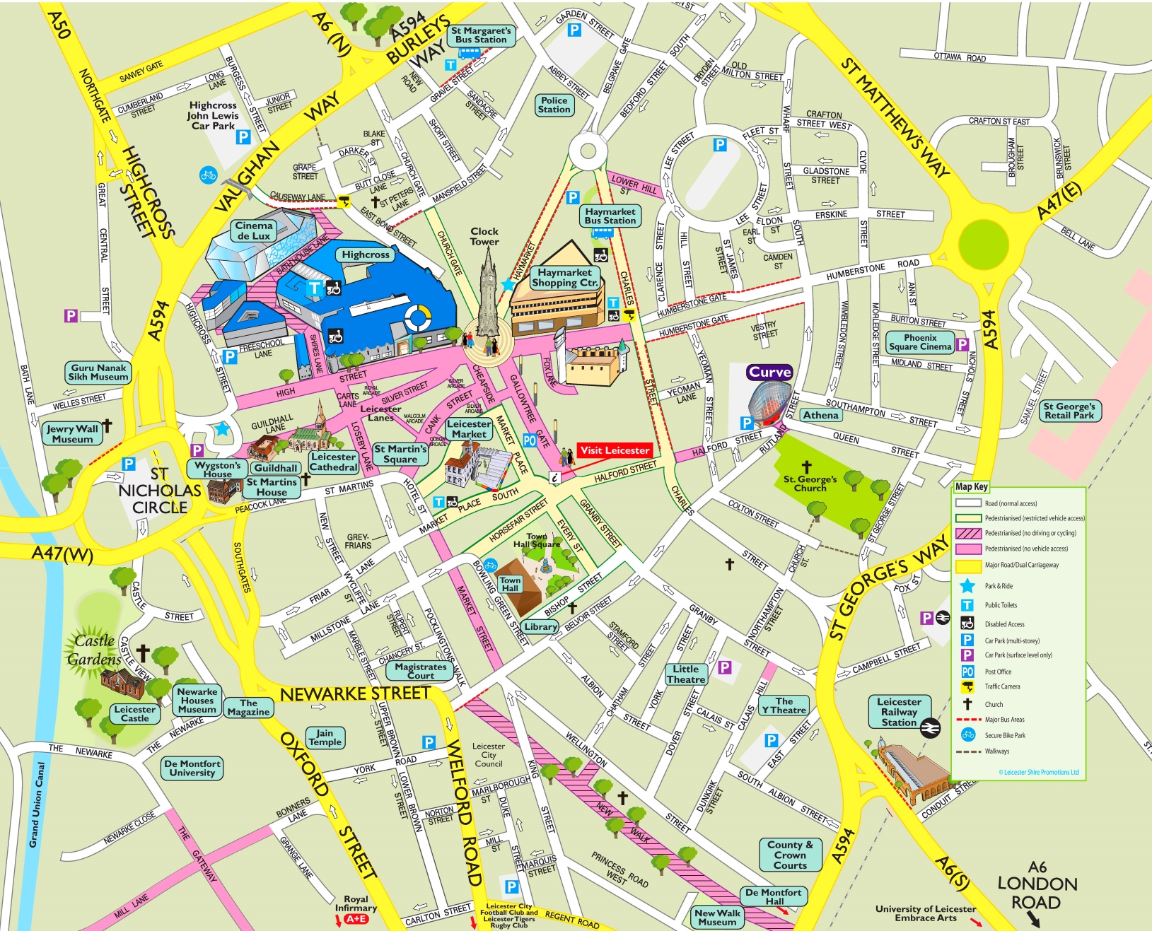 Map Of Leicester Leicester tourist attractions map Map Of Leicester