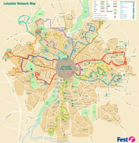 Leicester transport map