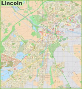 Detailed map of Lincoln