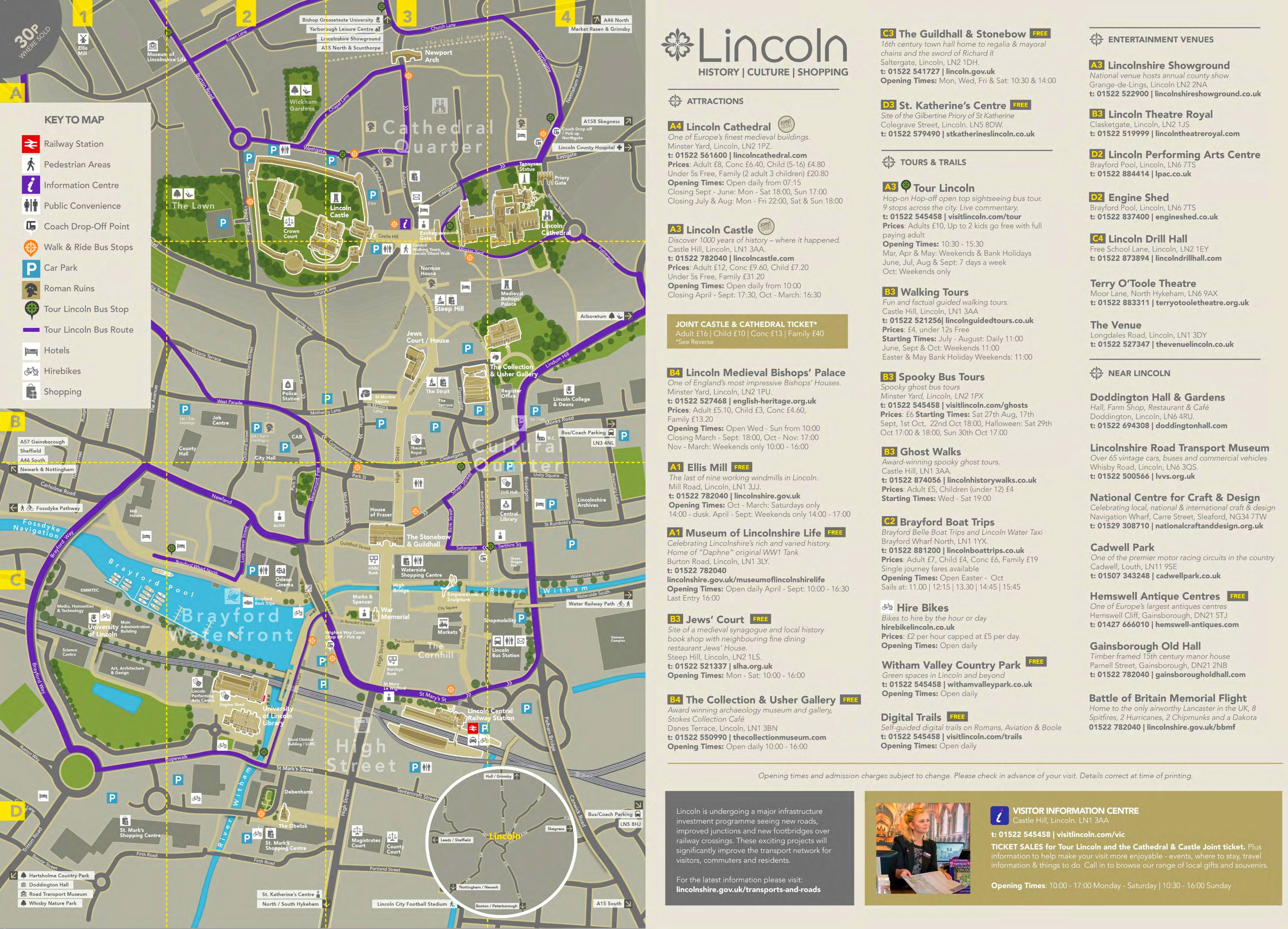 Lincoln sightseeing map