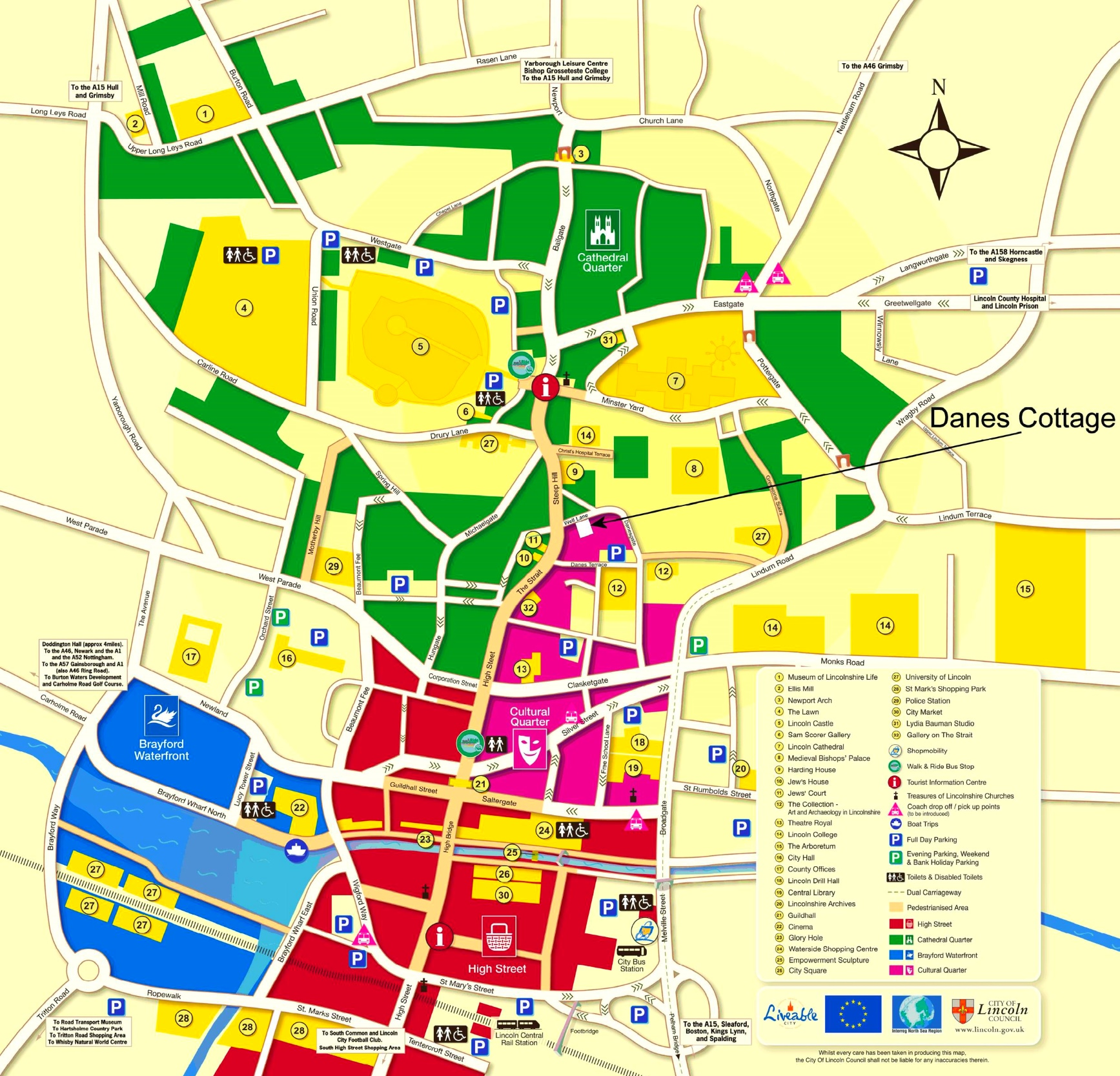 Map Of Lincoln Lincoln tourist map (UK) Map Of Lincoln