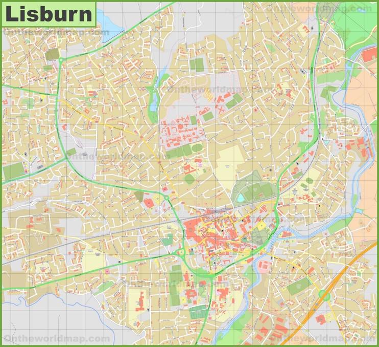 Detailed map of Lisburn