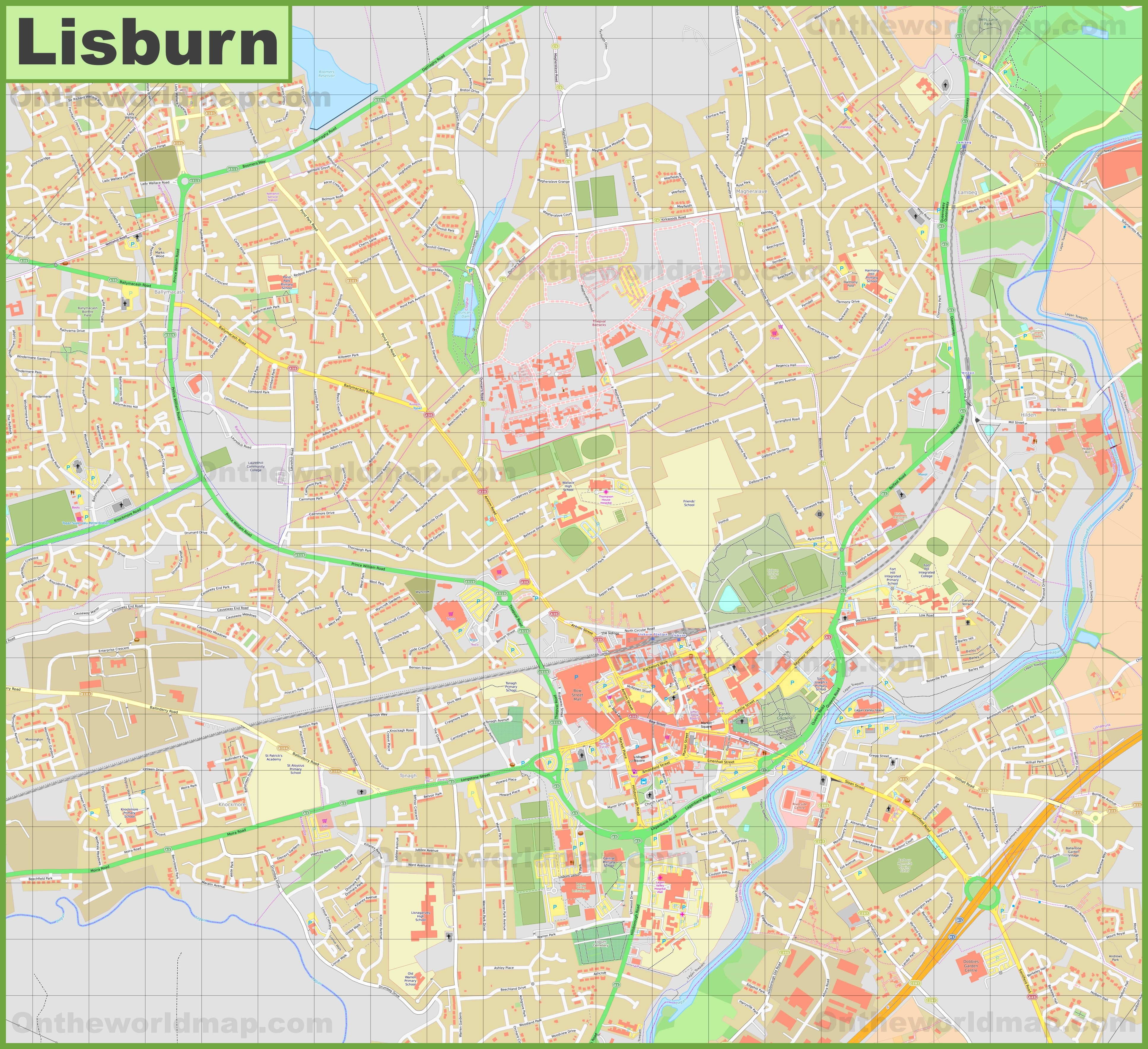 Detailed map of Lisburn