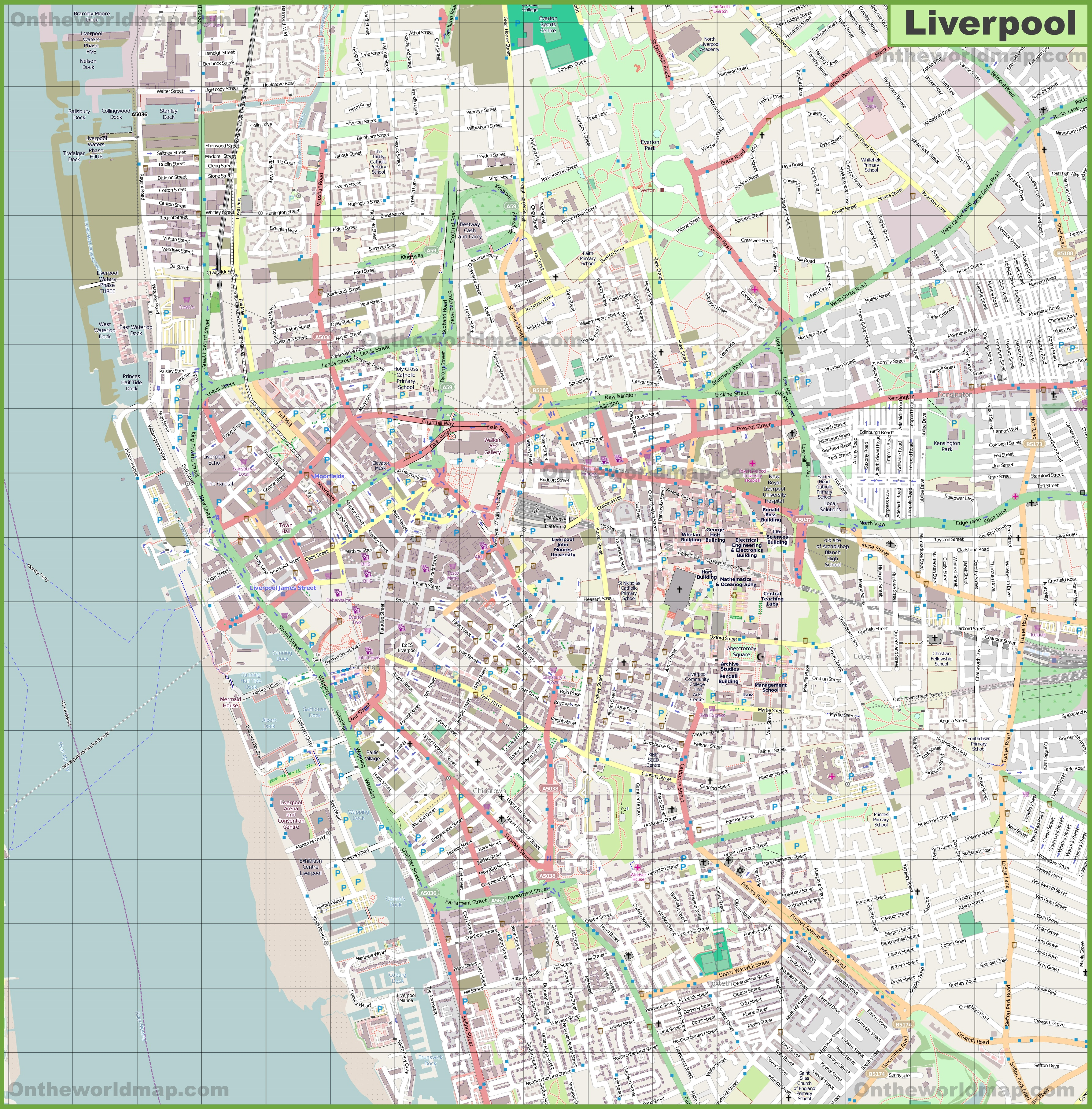 Map Of Liverpool Large detailed map of Liverpool Map Of Liverpool