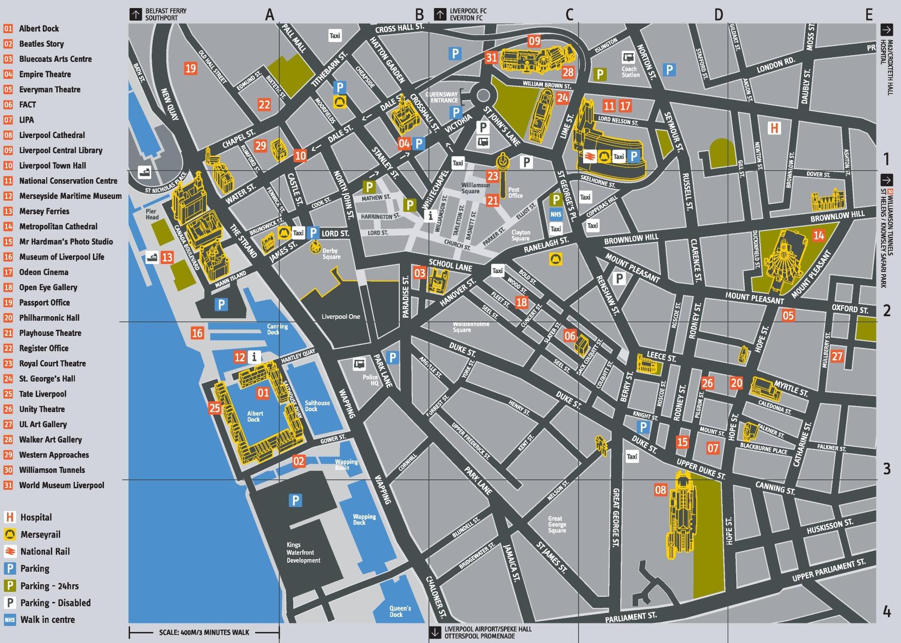 Liverpool Tourist Map Liverpool tourist attractions map Liverpool Tourist Map