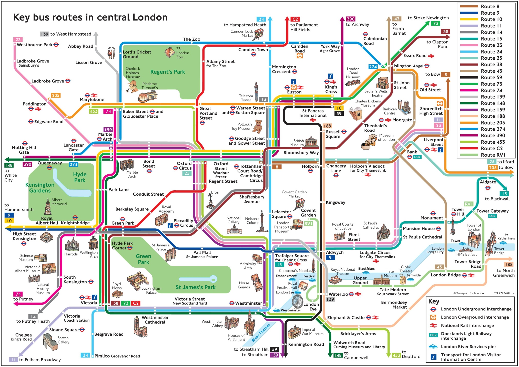 Central London bus map with tourist attractions – Map Of Central London With Tourist Attractions