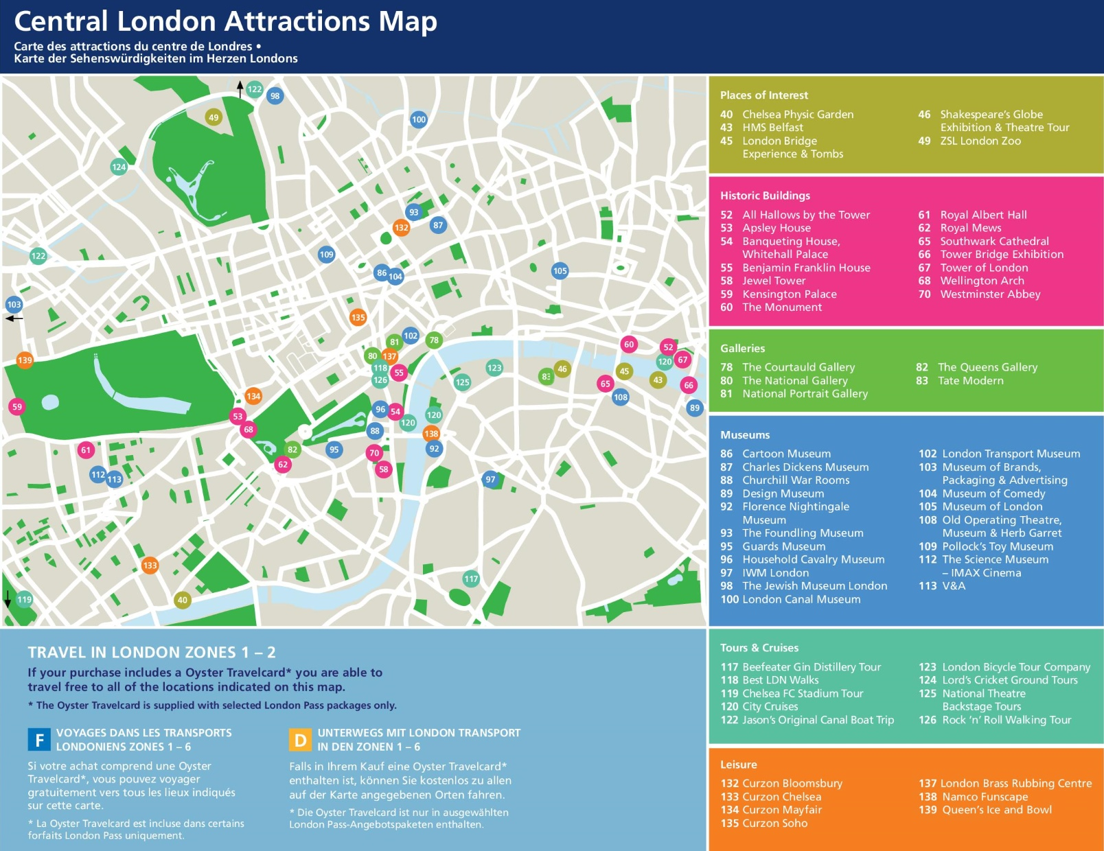 Central London tourist attractions map – Map Of Central London With Tourist Attractions