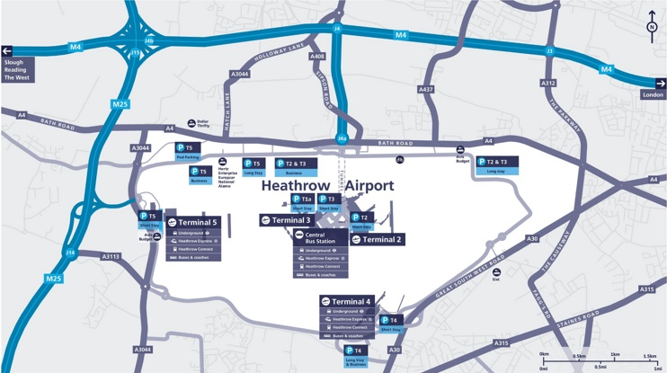 Heathrow car parking space map