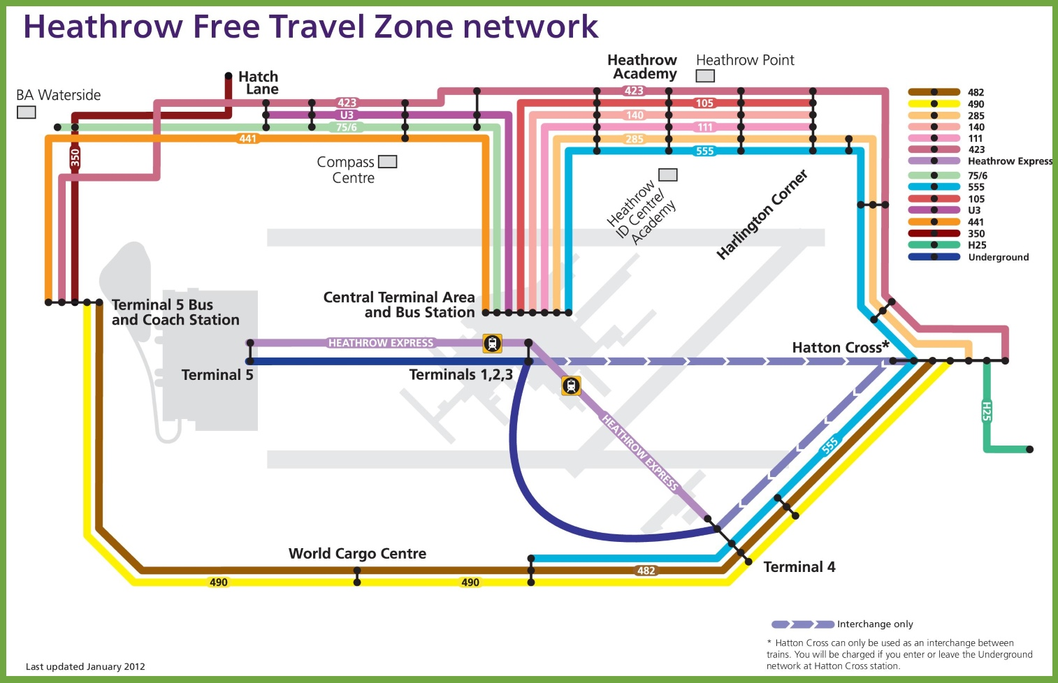 Heathrow free travel zone network map