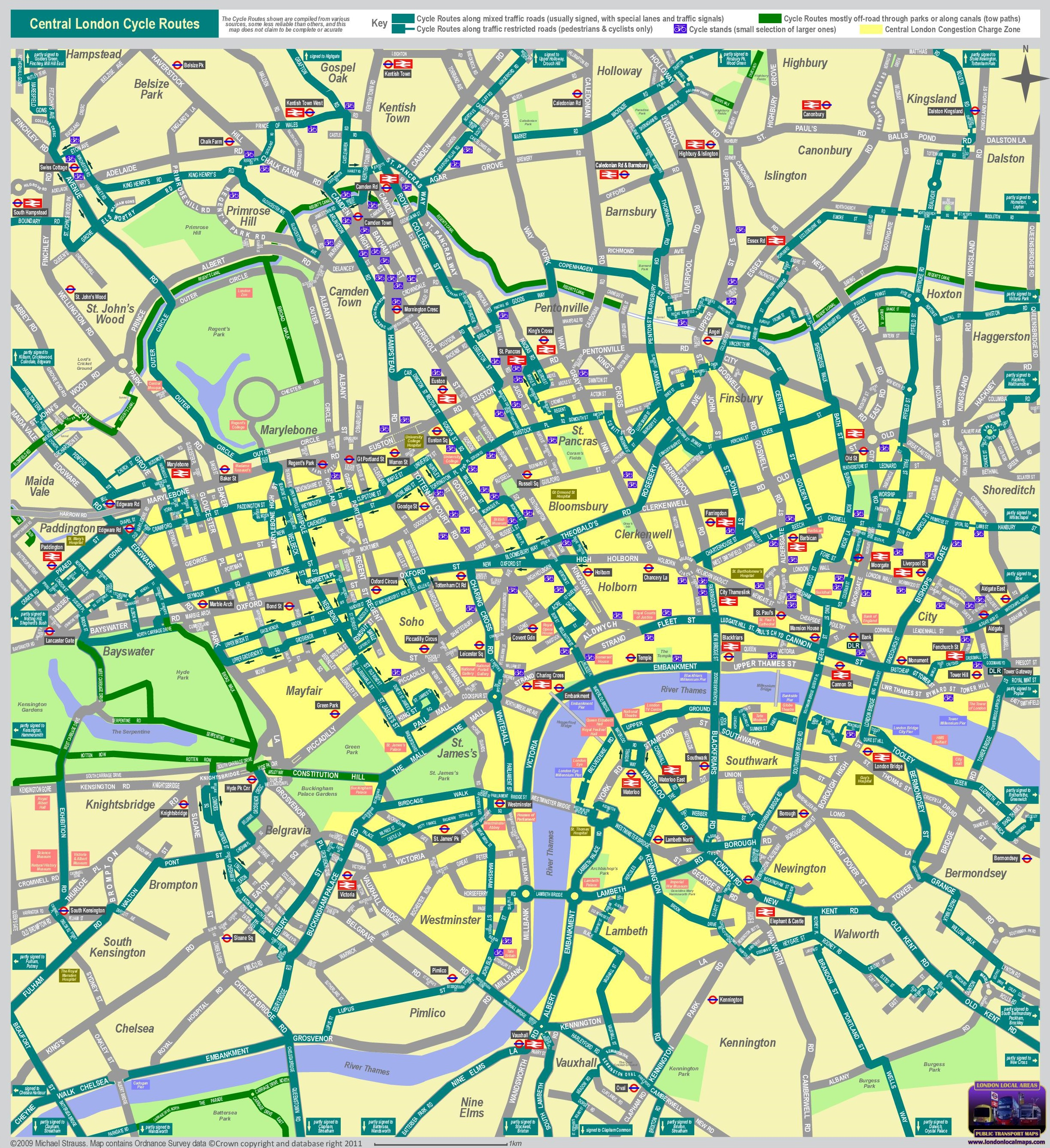 london central cycle routes map