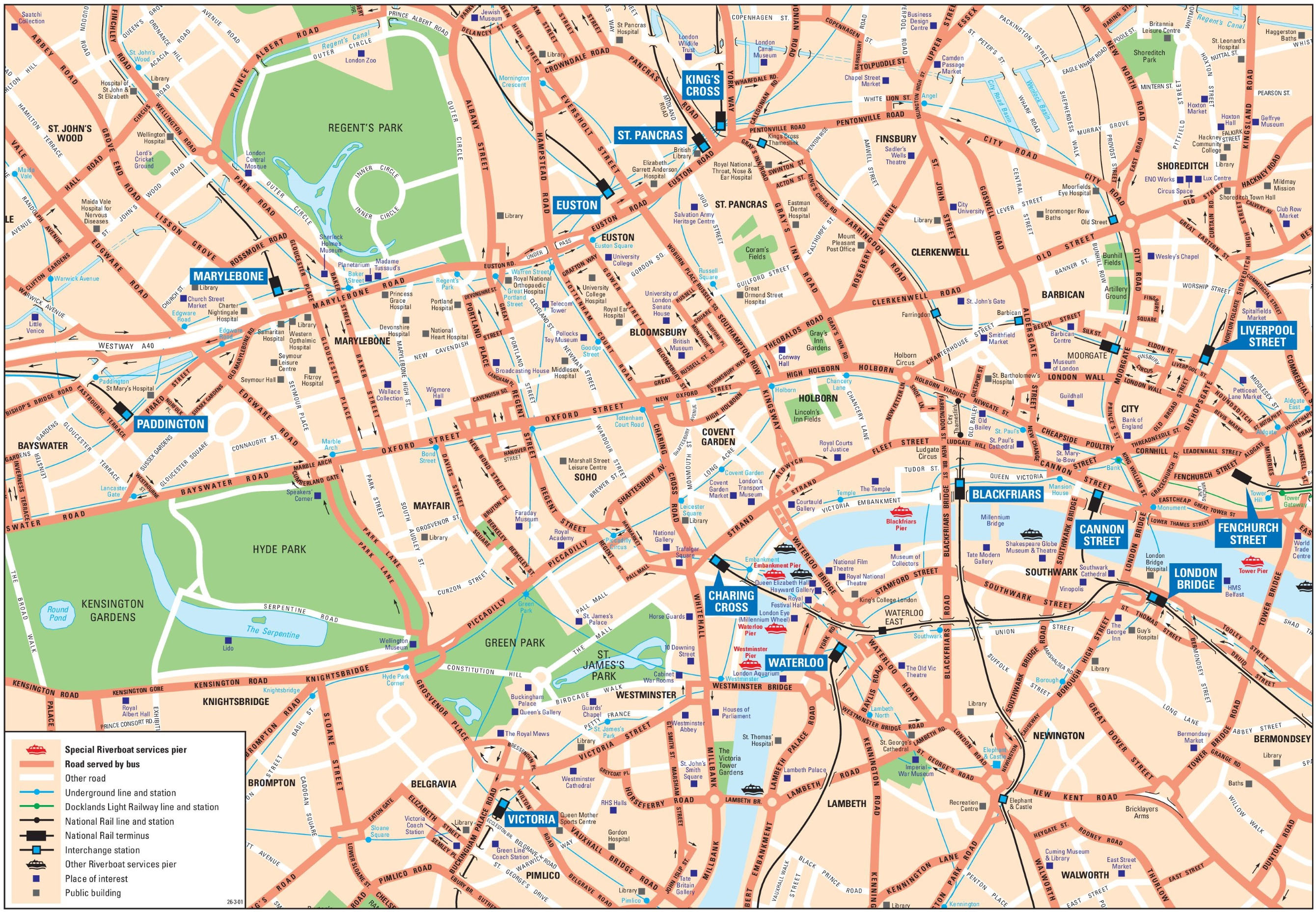 London City Area Map.London City Center Map