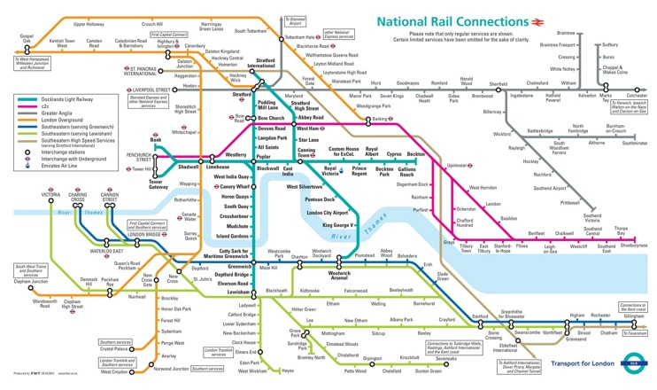 London mainline rail connections map