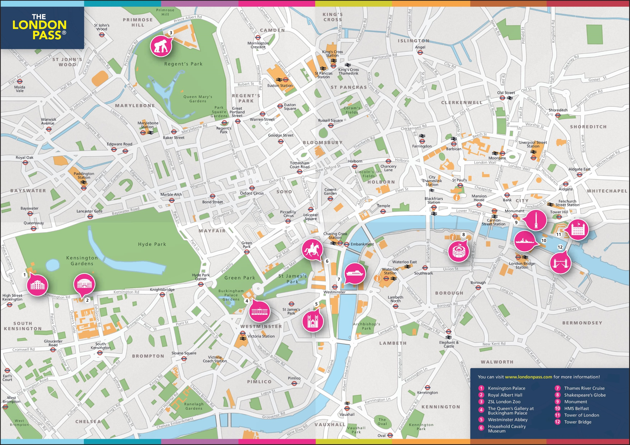 London Pass Attractions Map.London Pass Map
