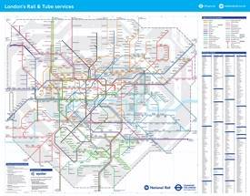 London rail and tube map