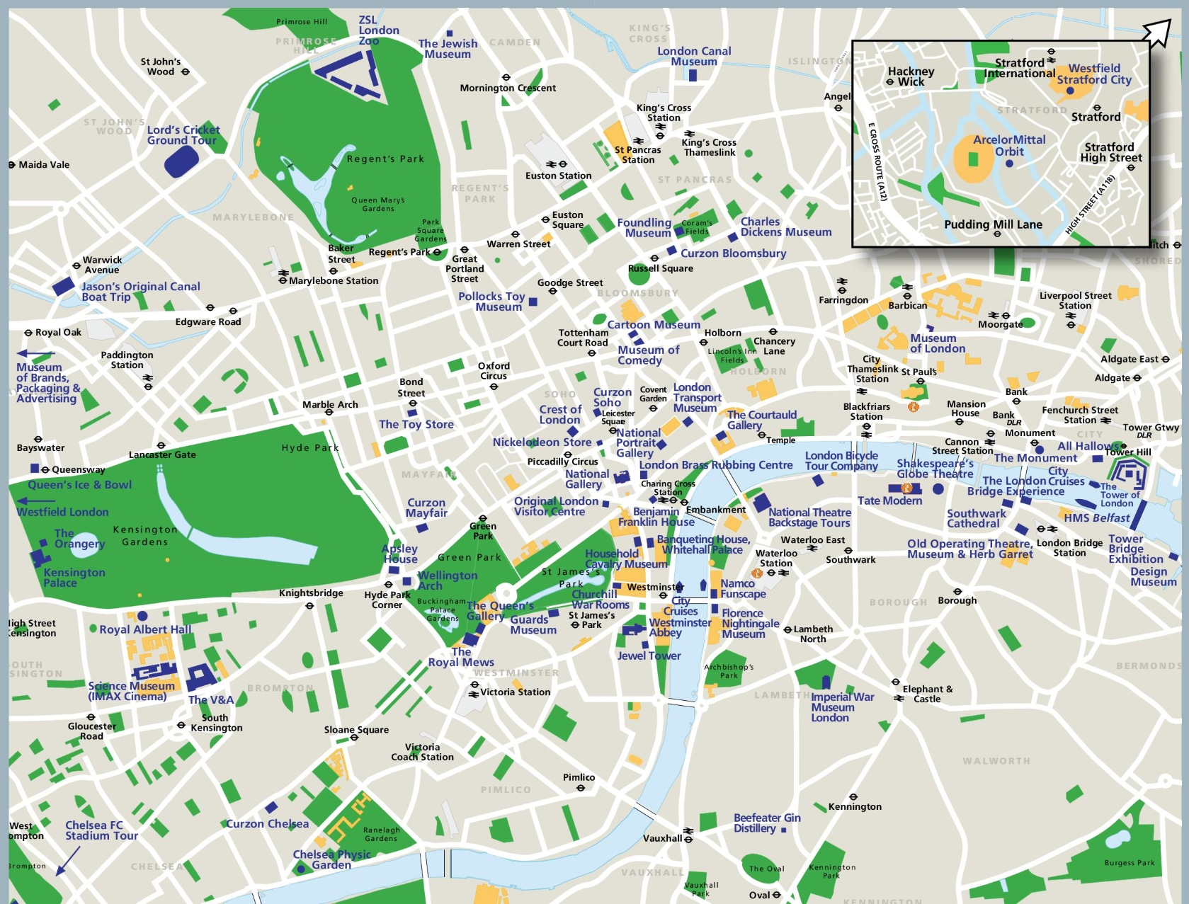 London sightseeing map – Map Of London For Tourists