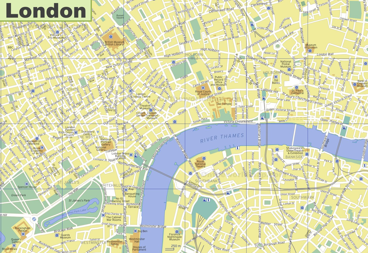 Touristic Map Of London.London Tourist Attractions Map