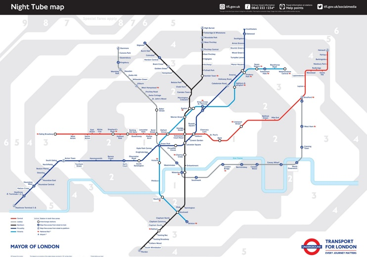 London tube night map