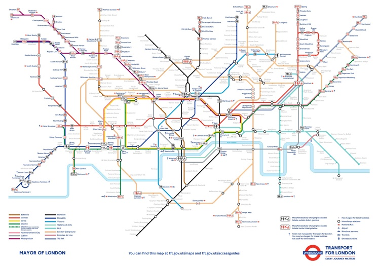 London tube toilets map