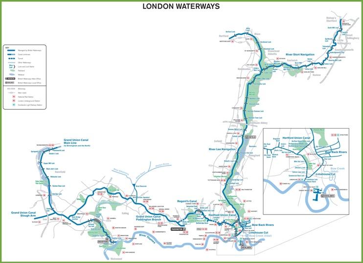 London Waterways Map