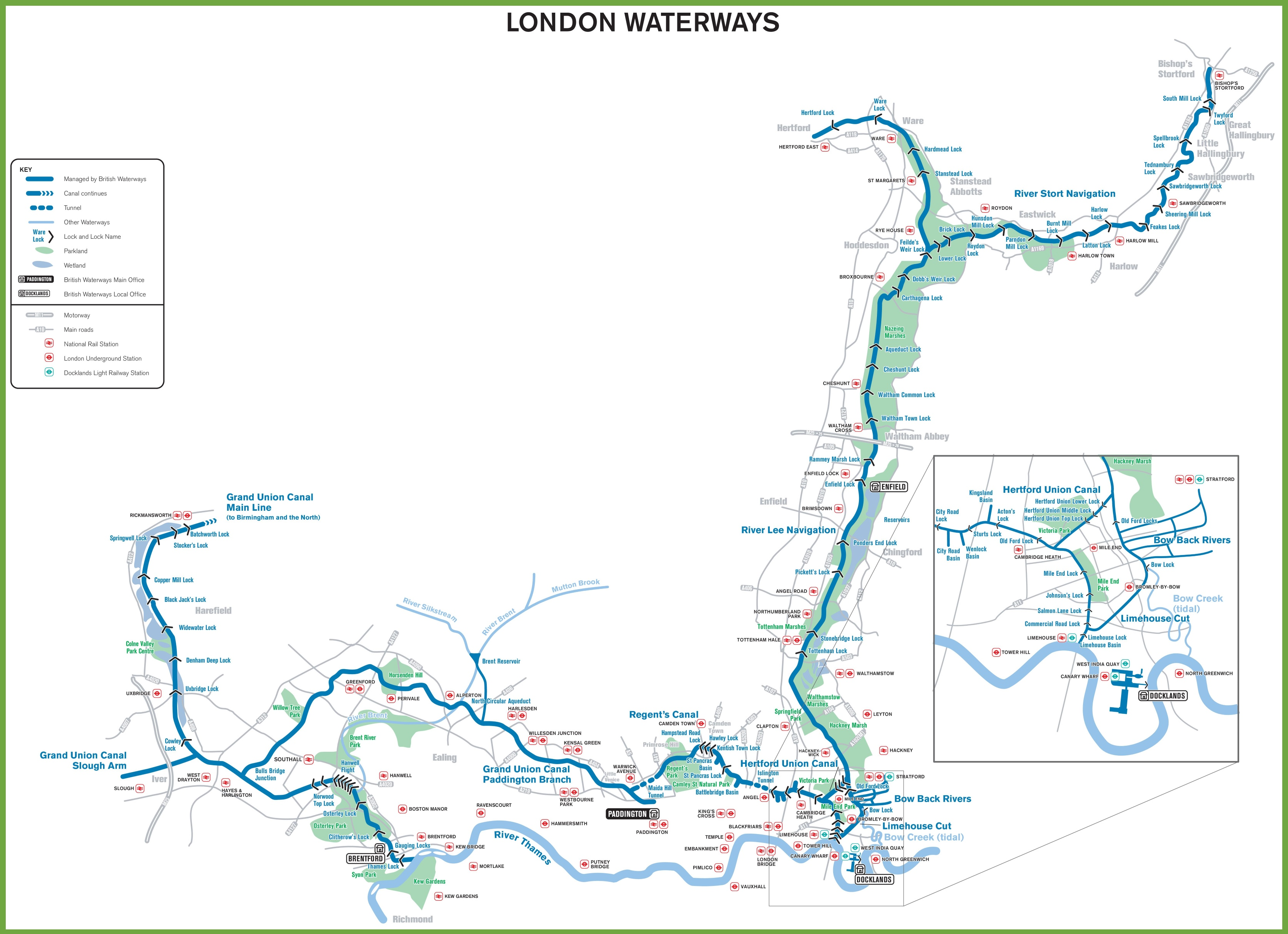 London Waterways Map - Us map waterways