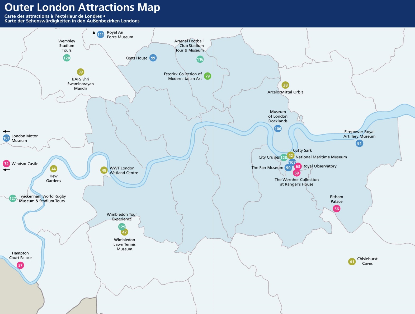 Outer London tourist attractions map – London Map of Tourist Attractions