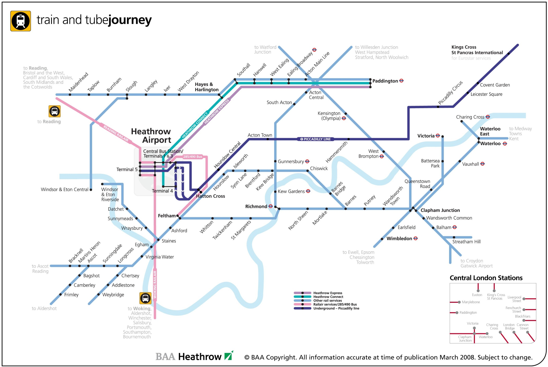Rail routes at Heathrow map
