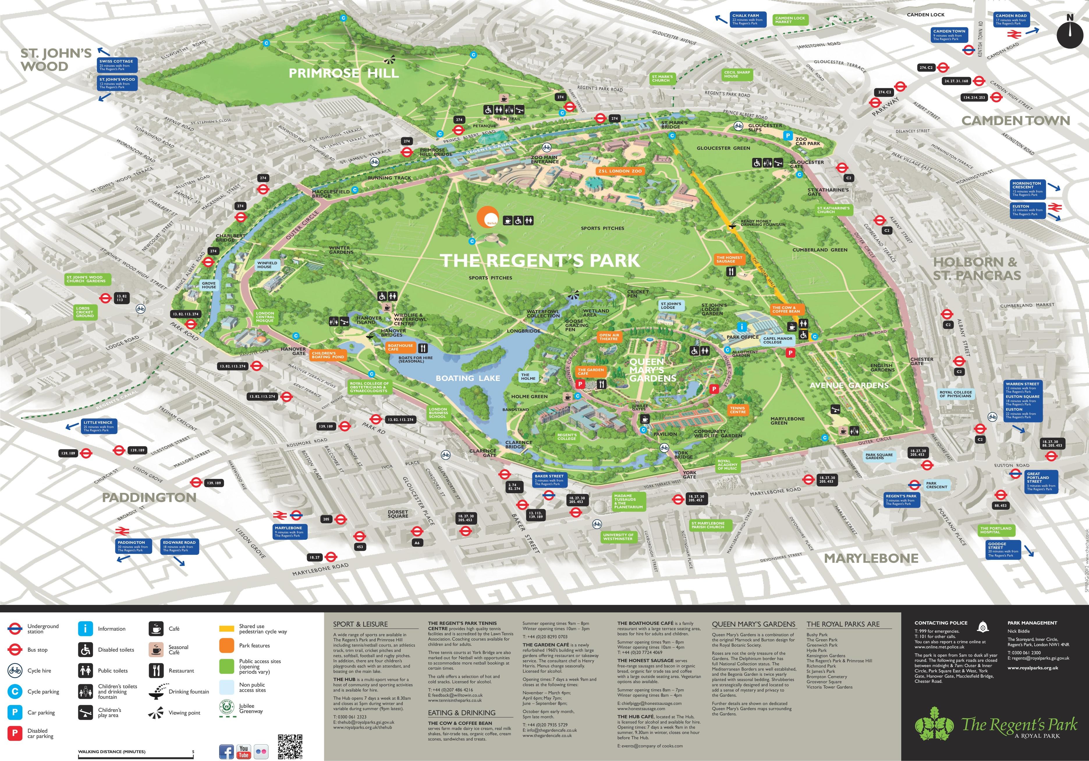 Regents Park Map Regent's Park map