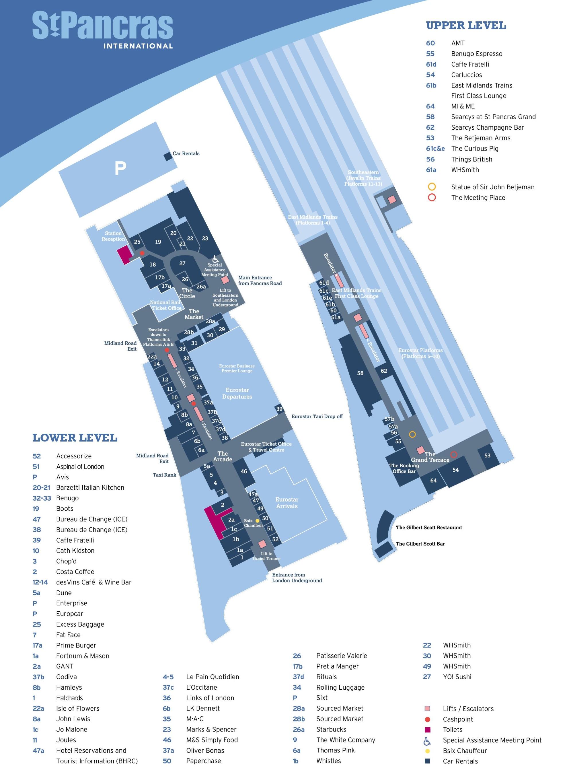 St Pancras railway station map