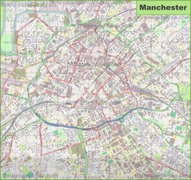 Large detailed map of Manchester