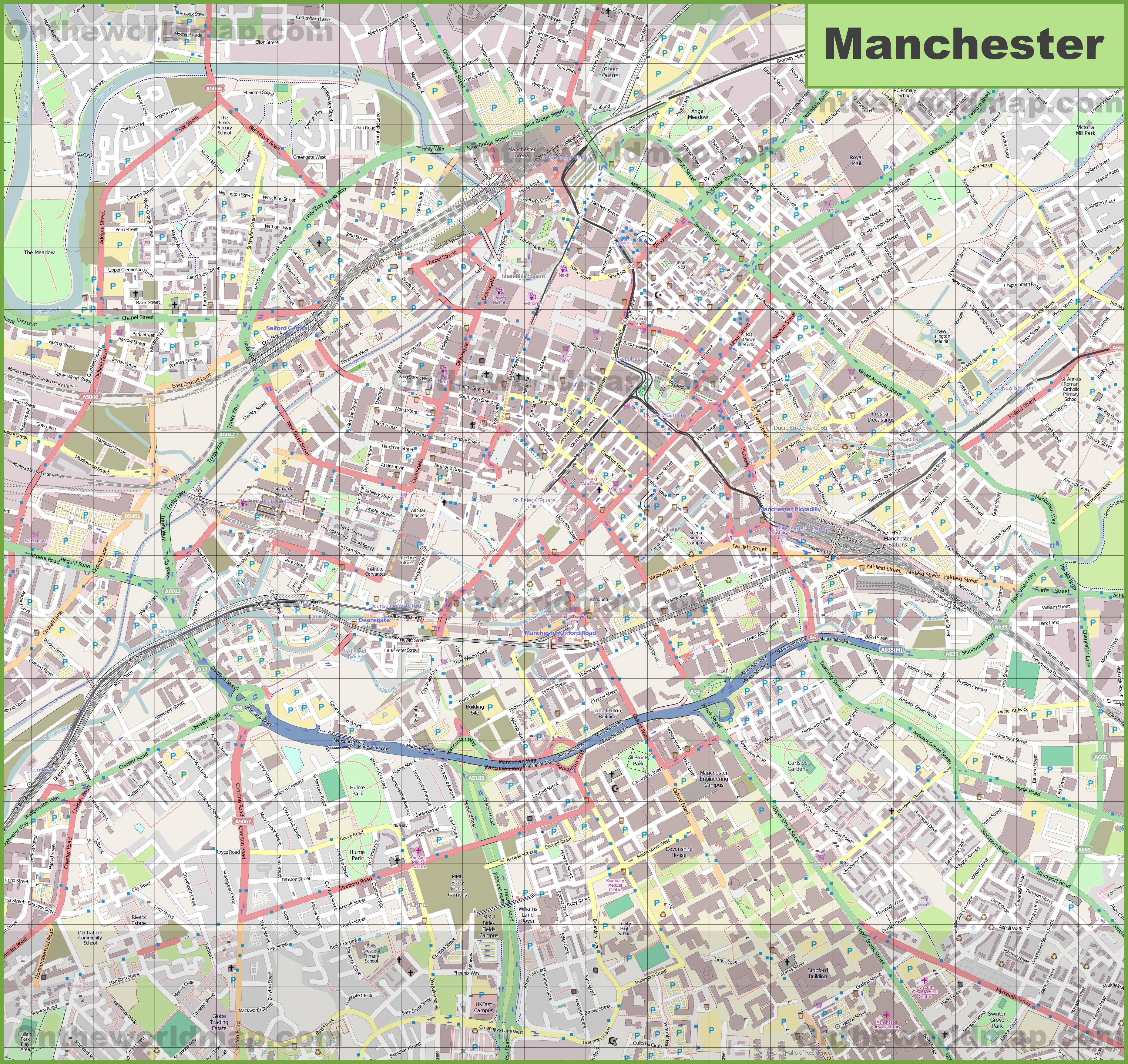 Map Of Manchester Large detailed map of Manchester Map Of Manchester