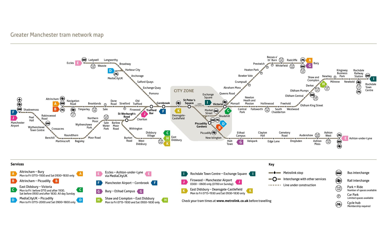 Manchester Tram Map Manchester tram map Manchester Tram Map