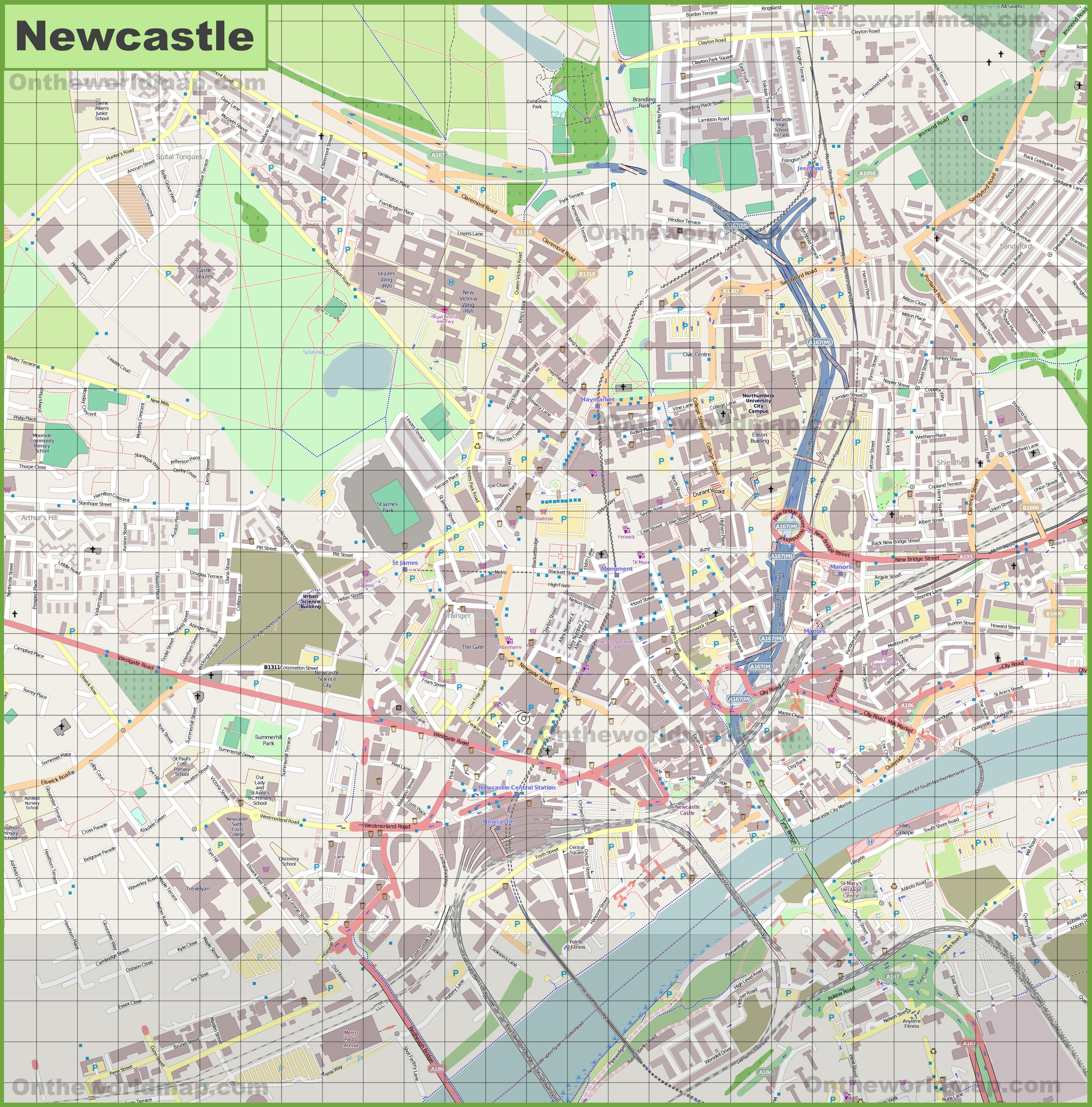 Map Of Newcastle Large detailed map of Newcastle (UK) Map Of Newcastle