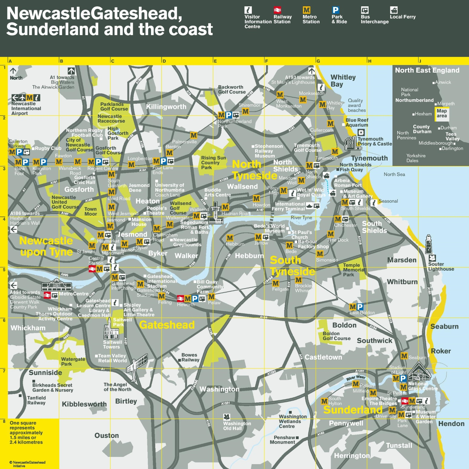 Newcastle area transport map