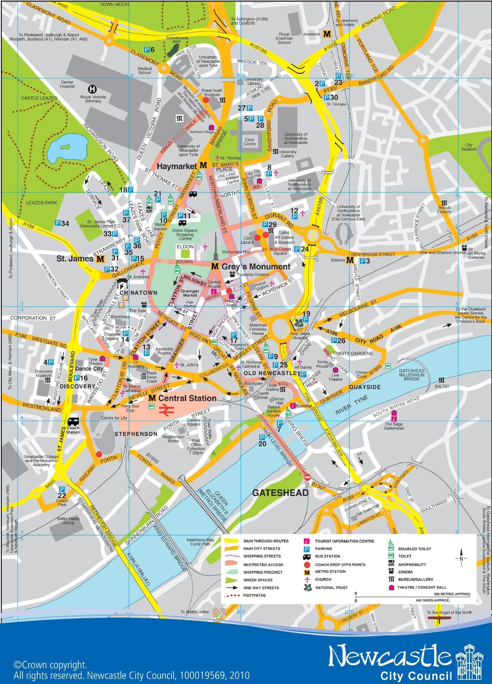 Map Of Newcastle Newcastle city center map Map Of Newcastle